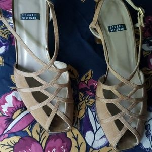 STUART WEITZMAN cross-strap slingback heels